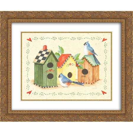 Birds and Birdhouses 3 2x Matted 18x15 Gold Ornate Framed Art Print by S. West