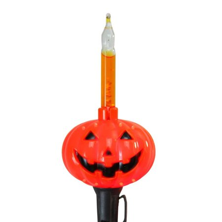 Set of 10 Orange Pumpkin Halloween Bubble Light Set - Black - Orange Halloween Pumpkins