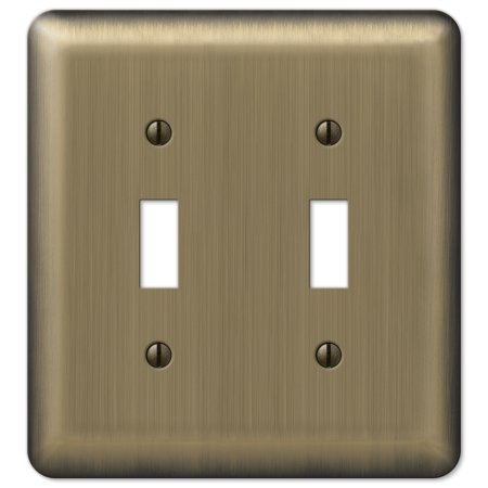 Amerelle 155TT Decorative Steel Round Corner Double Toggle Wallplate, Bright (Brass Double Toggle Wall Plate)