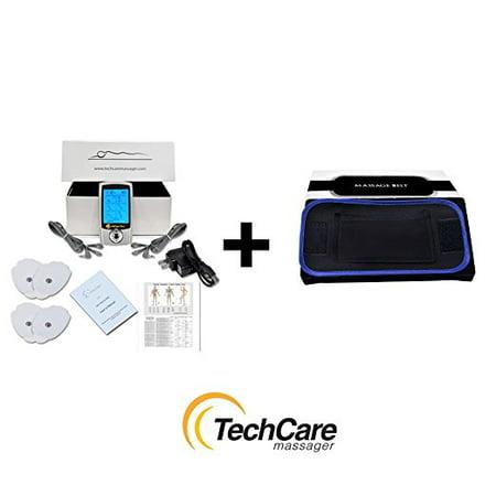 Lifetime Warranty TechCare Pro Tens Unit Massager Unit Electric Massage Set 20 Modes + Fat Burner Belt for Pain Relief Therapy Lactic, Nerve Disorder, Plantar Fasciitis, Carpal Tunnel, Calve Injurie