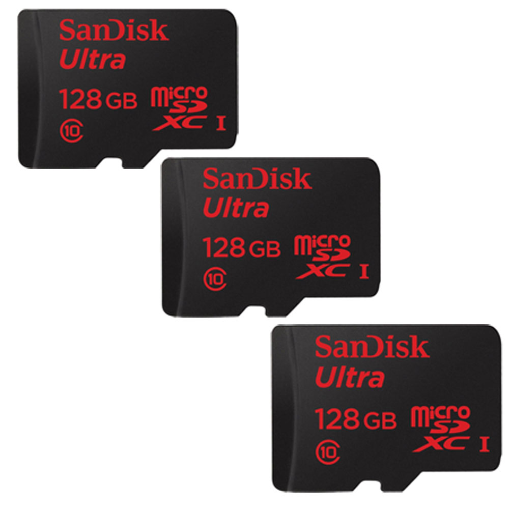 3-Pack Ultra microSDXC 128GB UHS-I Class 10 Memory Card with Adapter (384GB Total)