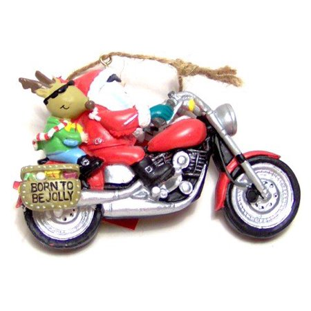 Santa and Reindeer Riding a Motorcycle Christmas Ornament