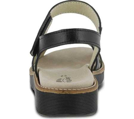 Women's Spring Step Elzira Quarter Strap Sandal Black Leather 36 M - image 1 de 7