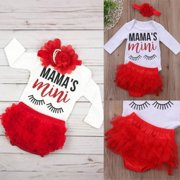3PCS Newborn Baby Girl Long Sleeve Romper Tutu Lace Shorts Outfits Set Clothes