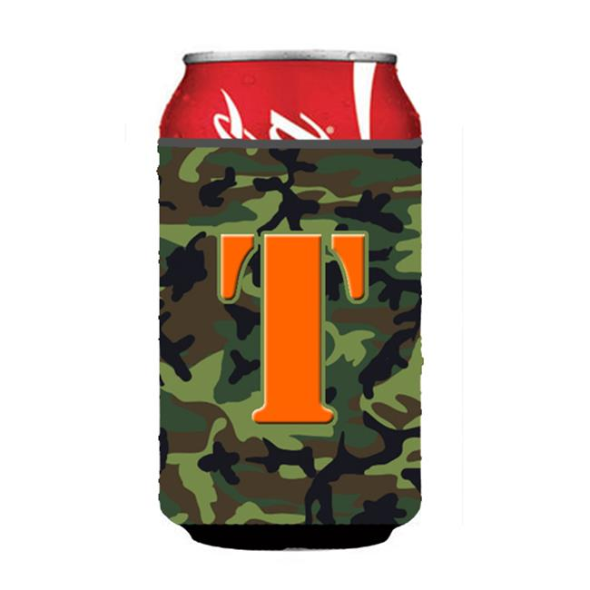 Letter T Initial Monogram - Camo Green Can Or Bottle  Hugger - image 1 of 1