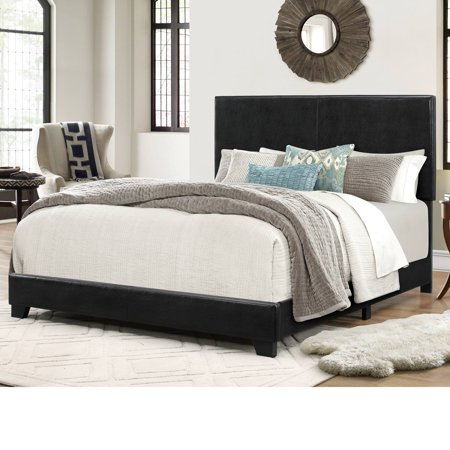 Archer Full Size Black Faux Leather Bed.