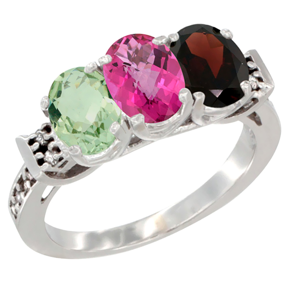 10K White Gold Natural Green Amethyst, Pink Topaz & Garnet Ring 3-Stone Oval 7x5 mm Diamond Accent, sizes 5 10 by WorldJewels