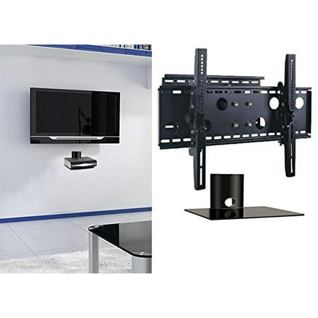 2xhome TV Wall Mount Bracket & Single Shelf Package Secure Cantilever LED LCD Plasma Smart 3D WiFi Flat Panel Screen Monitor Display Large Displays Long Swing Out Single - Universal Swing Out Flat Panel