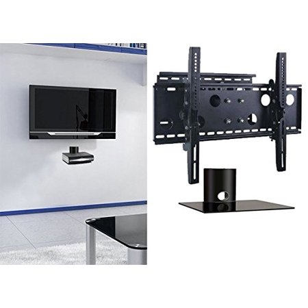 2xhome TV Wall Mount Bracket & Single Shelf Package Secure Cantilever LED LCD Plasma Smart 3D WiFi Flat Panel Screen Monitor Display Large Displays Long Swing Out Single Arm