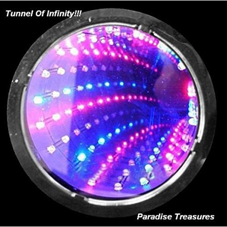 3D LED Strobe Flashing Infinity Tunnel Necklace Pendant for Party favors- 6 Modes RGB Light up Necklace(US Seller)