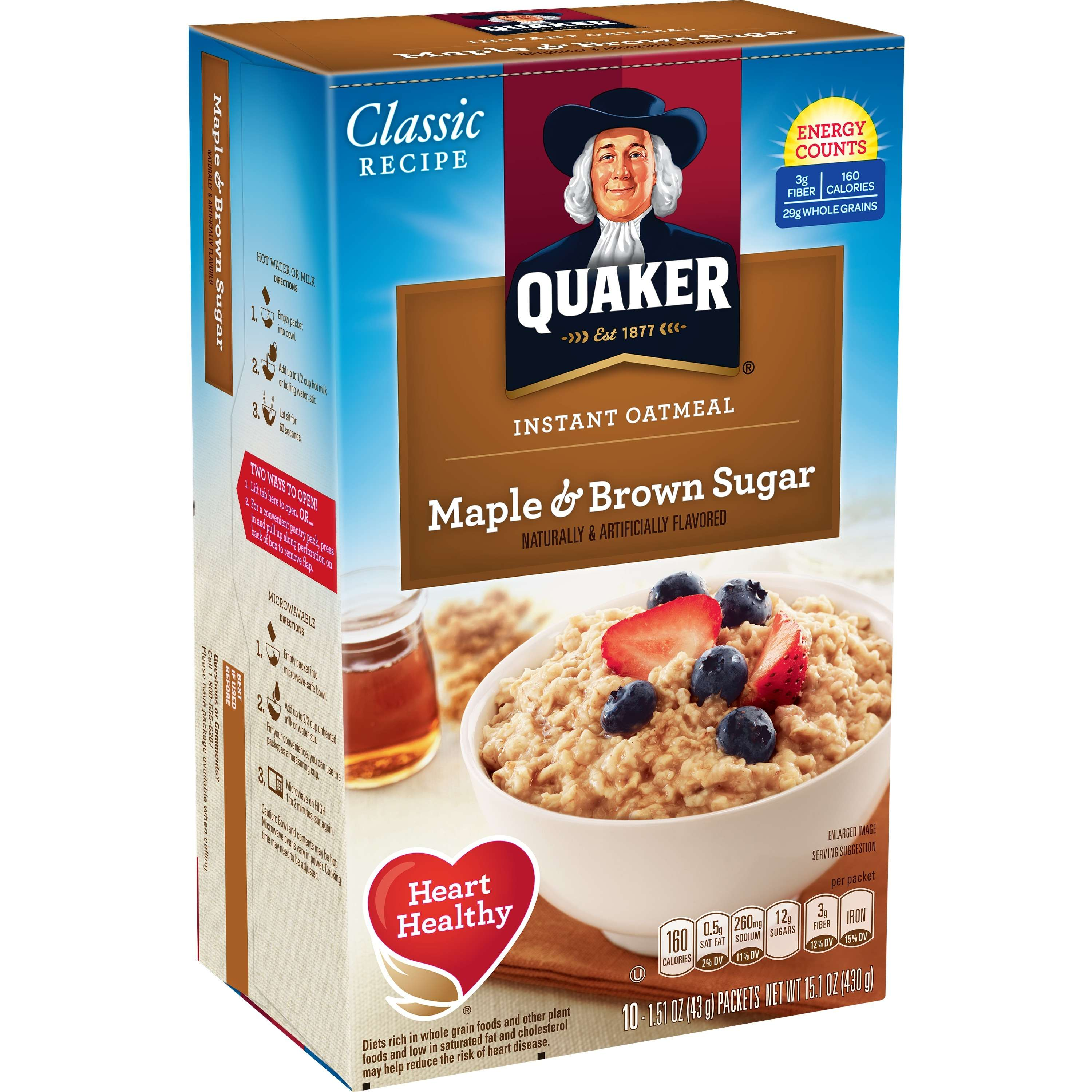Quaker Instant Oatmeal, Maple & Brown Sugar, 10 Packets
