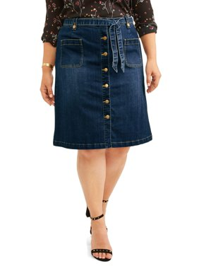 4ecb50eca Product Image Women's Plus Size Button Front A-Line Skirt With Belt