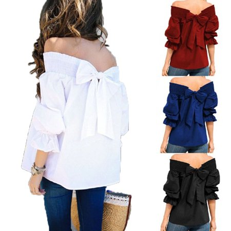 0b436c26e5b Fresh look - Women's Casual 3/4 Sleeve Tops Solid Color Strapless Loose  Elegant Shirt Off the Shoulder Chiffon Blouse Women Clothing - Walmart.com