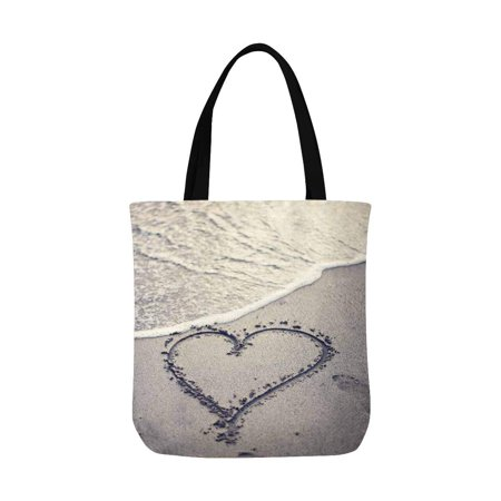 ASHLEIGH Heart Beach Summer Tropical Ocean Sea Wave Canvas Tote Bag Tote Shopping Bag Washable Grocery Tote Bag, Craft Canvas Bag for Women Men