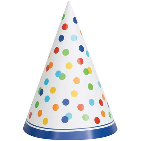 Rainbow Dot Confetti Party Hats, 8ct - Part Hat