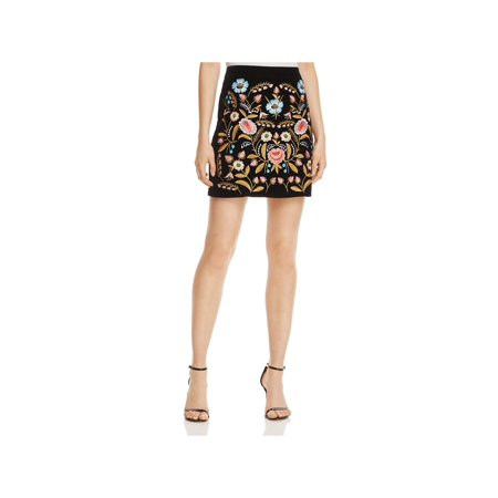 Lucy Paris Womens Velvet Embroidered Mini Skirt
