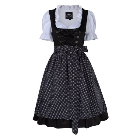 Women's Dot Lace Trim German Dirndl Dress for Bavarian Oktoberfest