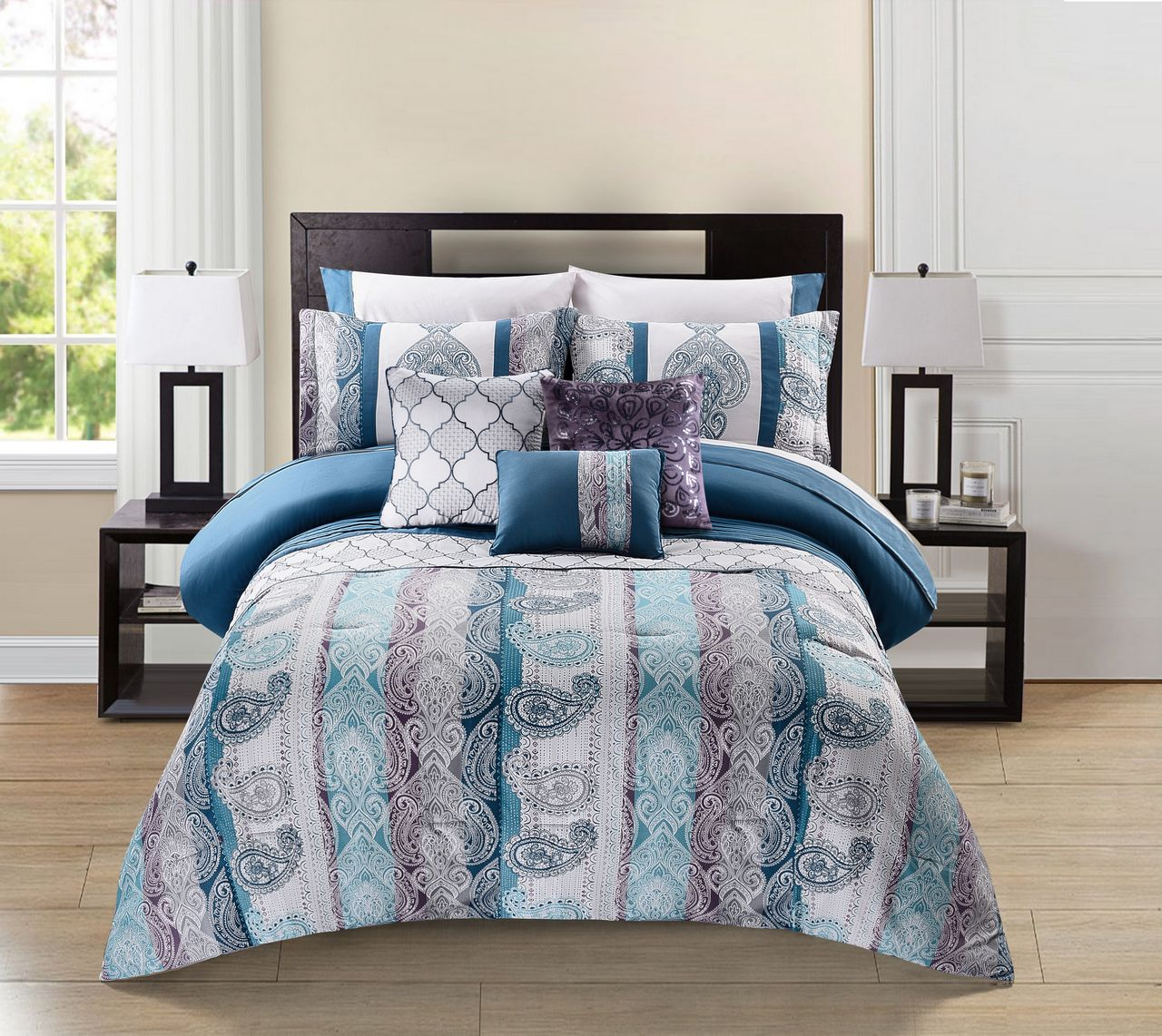 10 Piece Meryanne Teal/Gray/Plum Comforter Set w/Sheets - Walmart.com