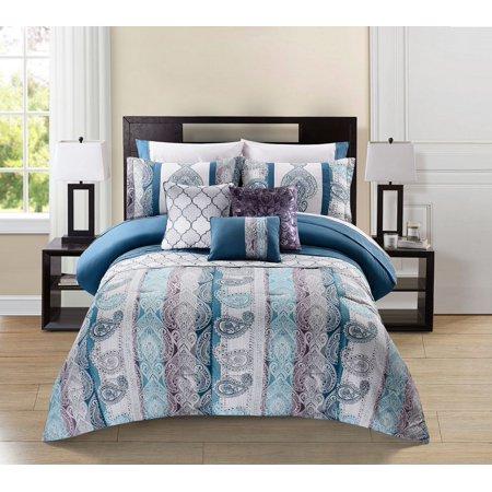10 Piece Meryanne Teal Gray Plum Comforter Set W Sheets
