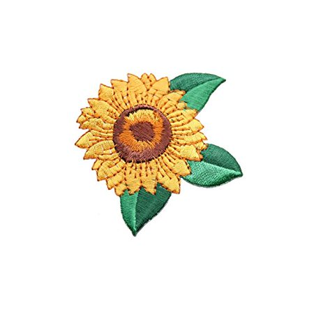 Helianthus Sunflower Self Adhesive embroidered Iron On Applique Patch (2.25