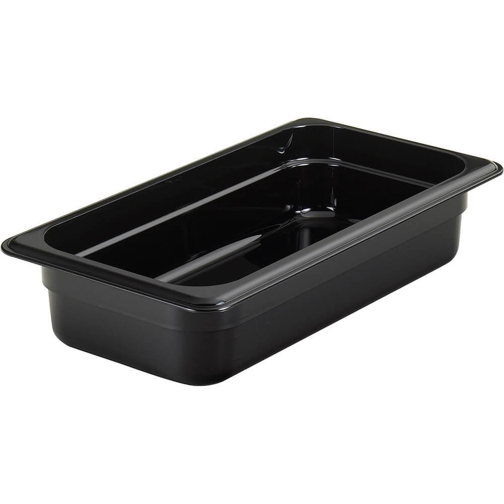 "Cambro 1/3 GN Steam Table Pans, High Heat Plastic, 2.5"" Deep, 6PK, Black, 32HP-110"