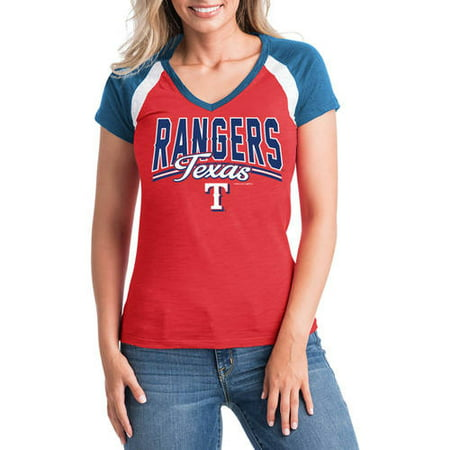 - MLB Texas Rangers Women's Short Sleeve Team Color Graphic Tee