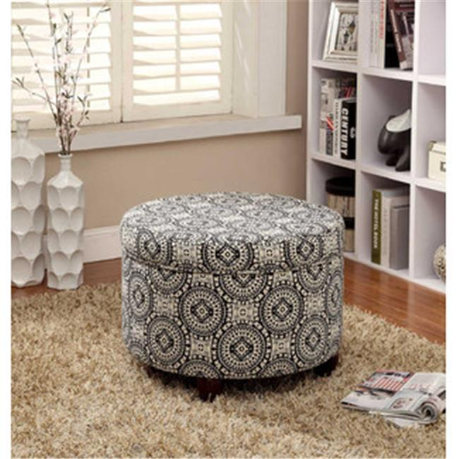 Kinfine K6427-F1604 Large Round Storage Ottoman by Kinfine