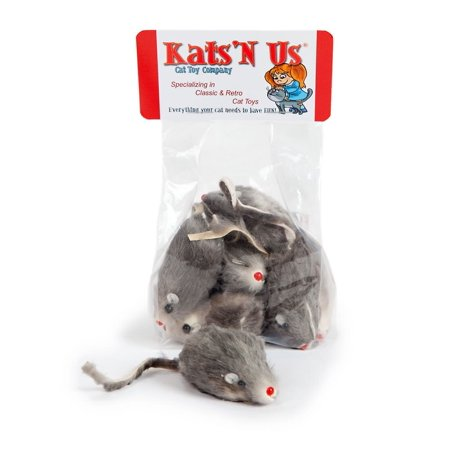 Fur Mouse Cat Toy - 5 Pak with Rattle Sound](Mice Sounds)