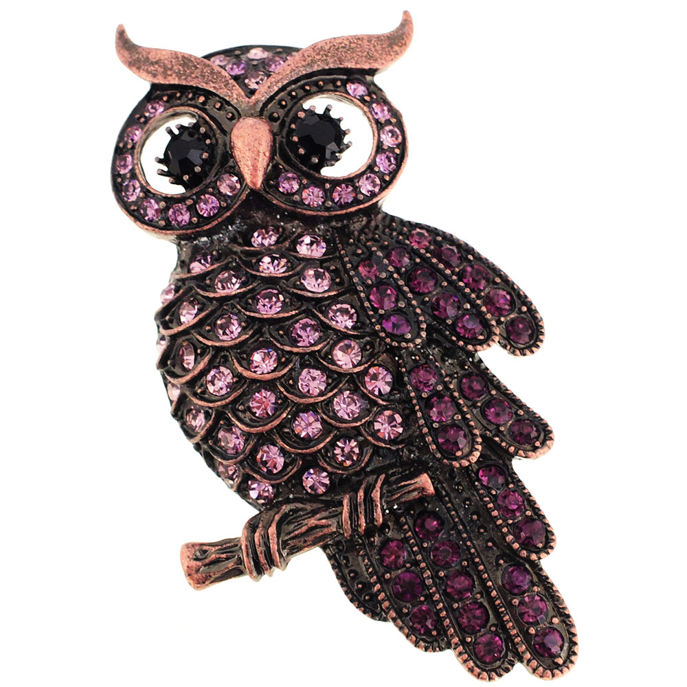 Vintage Style Amethyst Purple Owl Bird Crystal Pin Brooch by