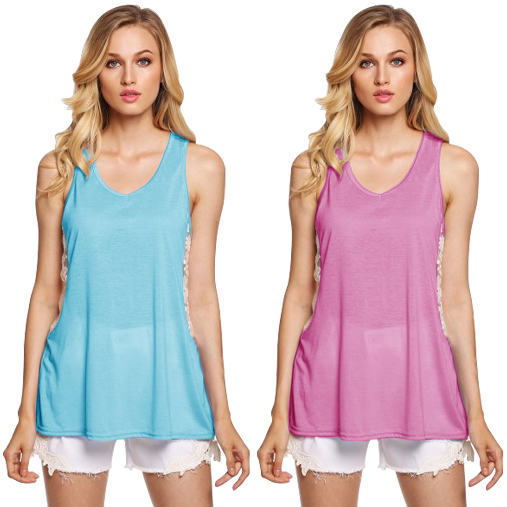Fashion Sexy Womens Summer Lace Top Loose Sleeveless Blouse Ladies Casual Tank Tops T-Shirt (Pink) Size-S