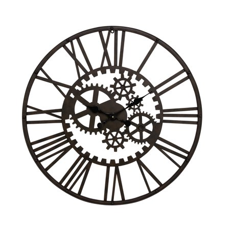 Decmode Industrial 32 Inch Iron Gear Wall Clock ()