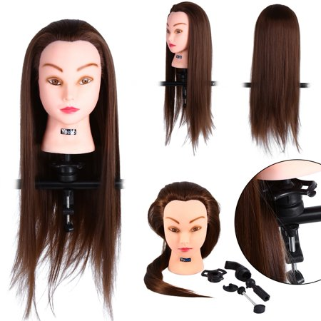 Shoulder Manikin - HERCHR 24inches Mannequin Head 30% Real Human Hair Hairdresser Training Head With Shoulder Manikin Cosmetology Doll Head for Hair Styling and Training Competition