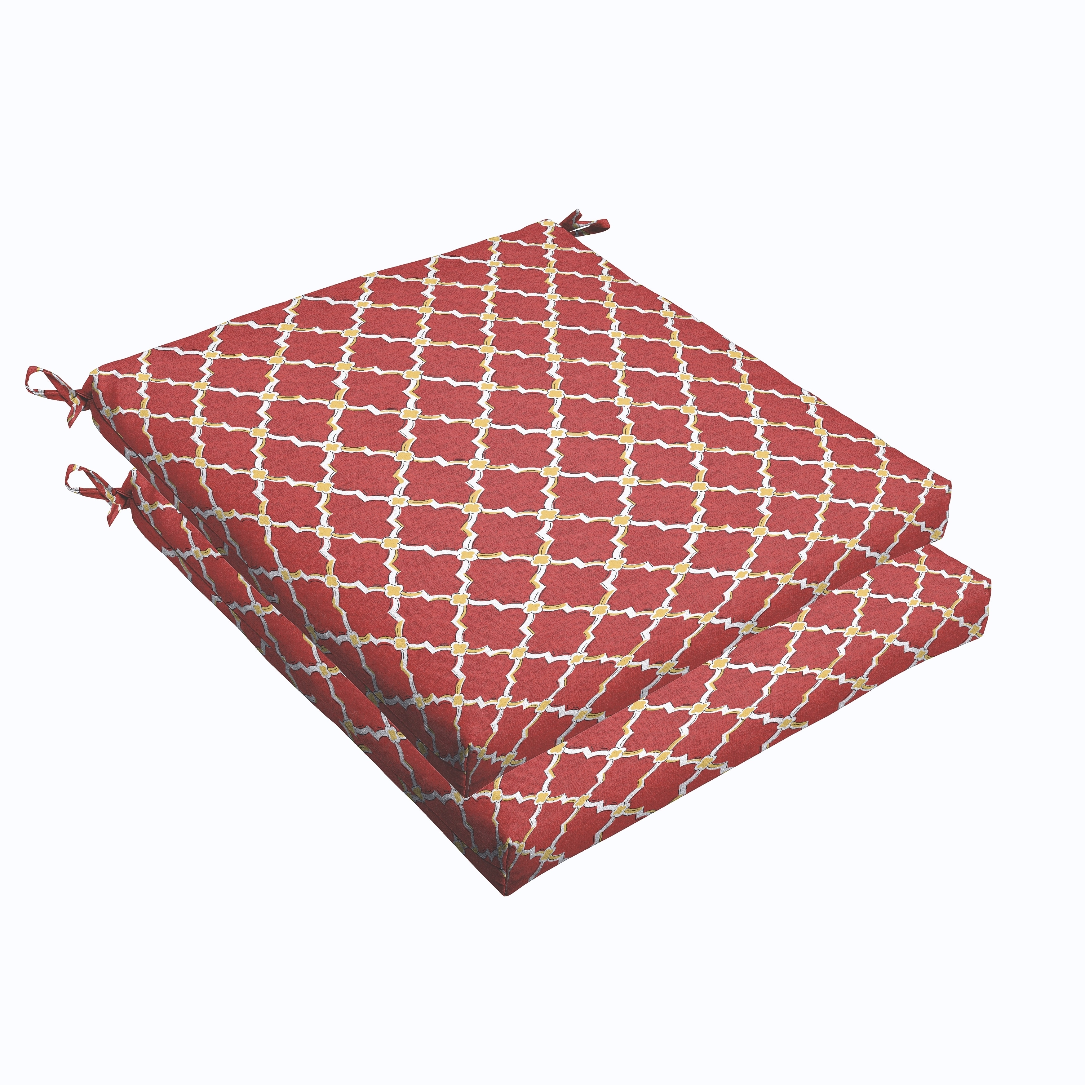 Humble and Haute Red Gold Berry 19 x 2.5-inch Chair Cushion - Bristol (Set of 2)