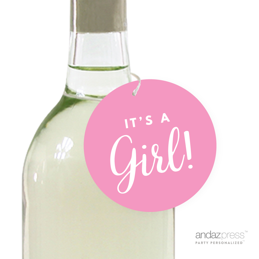 Bubblegum Pink It´s A Girl! Striped Circle Baby Shower Gift Tags, 24-Pack