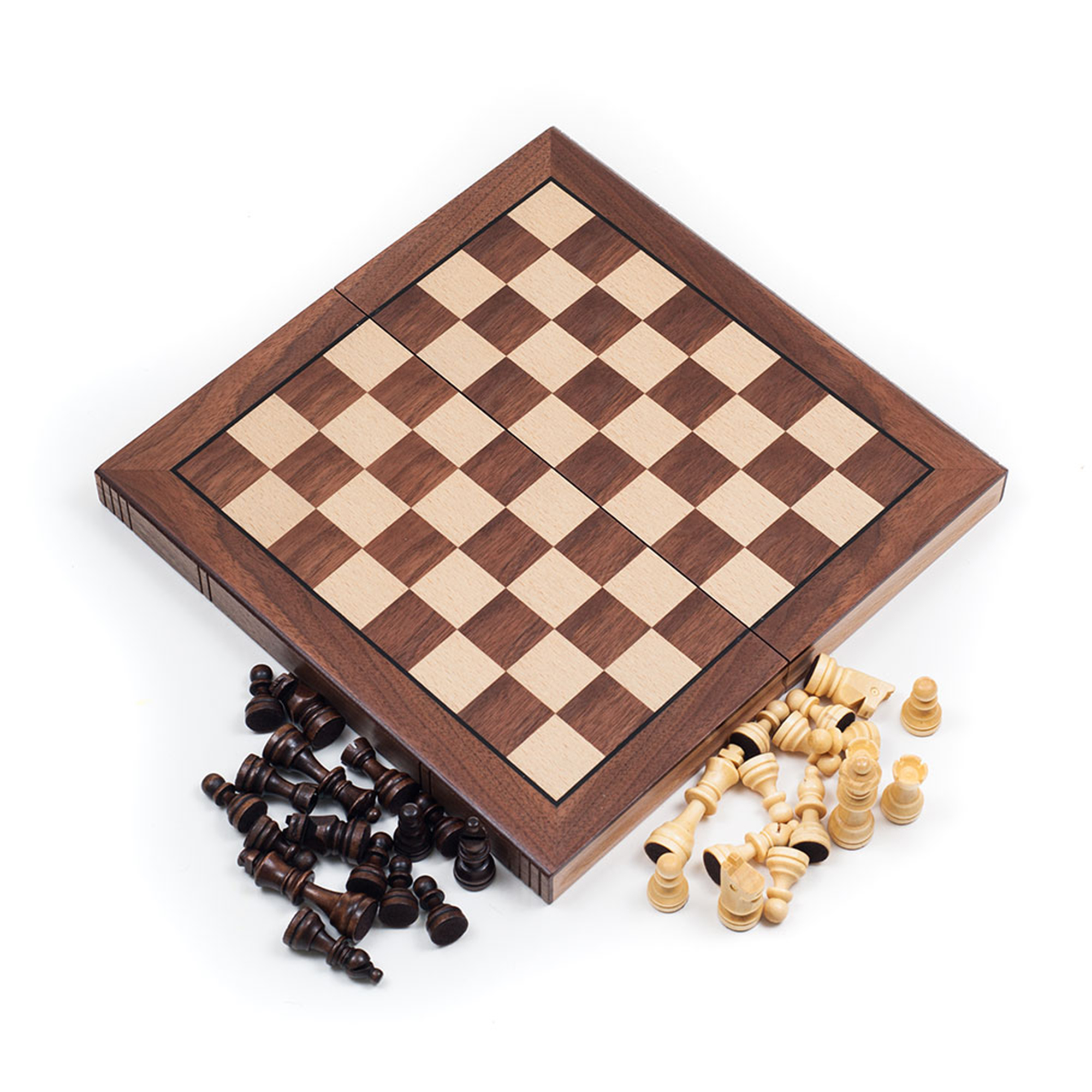 Chess Board Walnut Book Style with Staunton Chessmen Chess Set by Hey! Play! by Trademark Global LLC