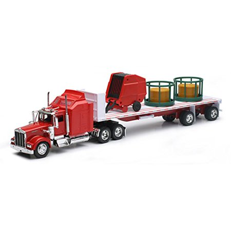 New Ray Toys W900 with Round Hay & Feeder Toy Truck Collectible New in Box, Year of Construction : 0 By Kenworth