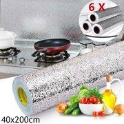 1/3/5 Roll Big Size Waterproof Oil Proof Aluminum Foil Sticker Self Adhesive Wallpaper Kitchen Stove Wall Stickers