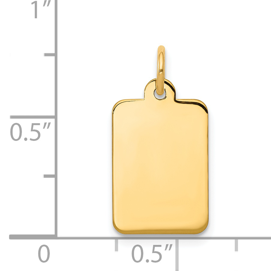 14K Yellow Gold Plain .011 Gauge Rectangular Engravable Disc Charm - image 1 of 2