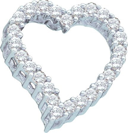 14K White Gold 0.25ctw Elegant Pave Princess Diamond Ladies Heart Pendant