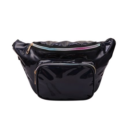 HDE Shiny Retro Fanny Pack Rave Festival Hologram Waist Pack Bum Bag Outdoor Travel Crossbody Hip Bag (Iridescent Black)