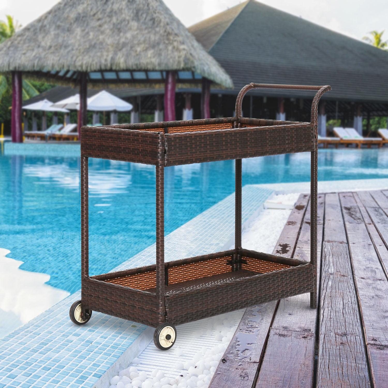 Kinbor Outdoor Wicker Patio Furniture Serving Cart