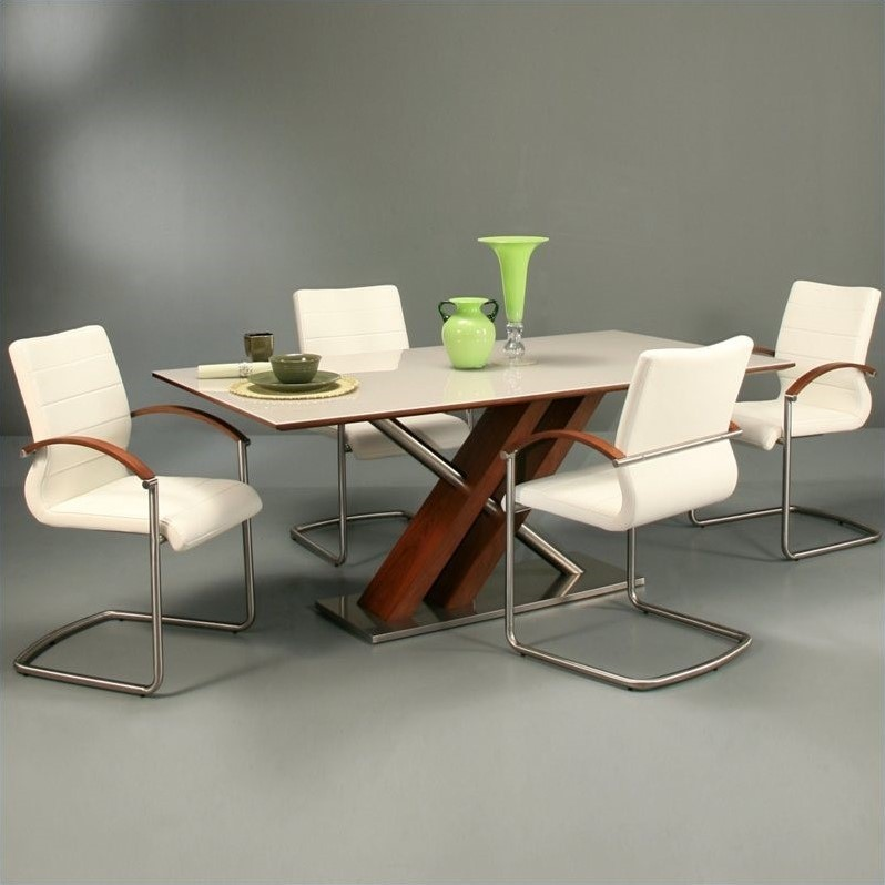 Pastel Furniture Charlize 5 Pc Dining Room Set w  Akasha Chairs in Walnut by Pastel Furniture