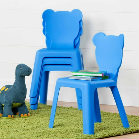 South Shore Crea Kids' Plastic Stacking Chairs, 4-Pack, Multiple Colors ()