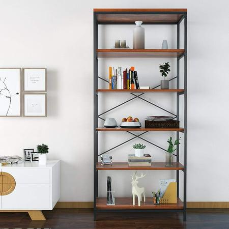 Shelf Vintage Industrial Bookcase, Wood Rustic Open Bookshelf (White Bookcase Bookshelf)