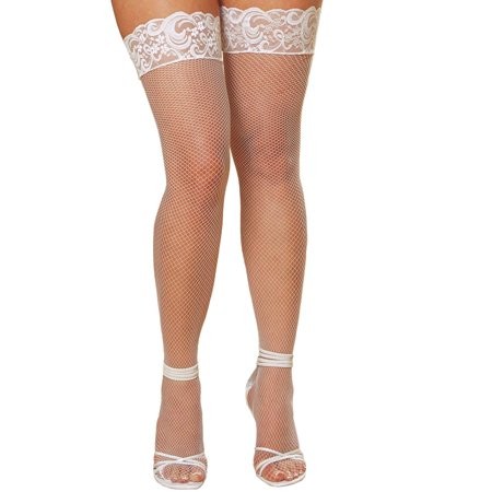 - Plus Size Hosiery Lingerie Stay Up Back Seam Fishnet Thigh High