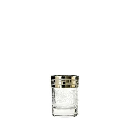 Crystal Goose GX-01-837, 2-Ounce Shot Glasses with Platinum Etching, Heavy Base Vodka Liquor Tequila Shot Glasses Set with Platinum-Plated Greek Key Design Rim, Gift Box 6-Piece Set