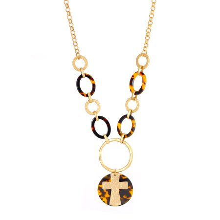 TAZZA WOMEN'S MATTE GOLD CROSS TORTOISE SHELL NECKLACE