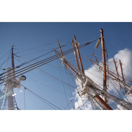 Canvas Print Rigging Three Masted Sailing Vessel Masts Ship Stretched Canvas 10 x 14