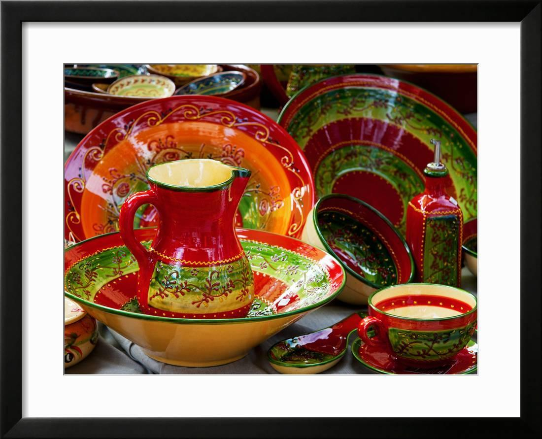 Pottery For Sale At A Market Stall Lourmarin Vaucluse Provence Alpes Cote D Azur France Framed Print Wall Art