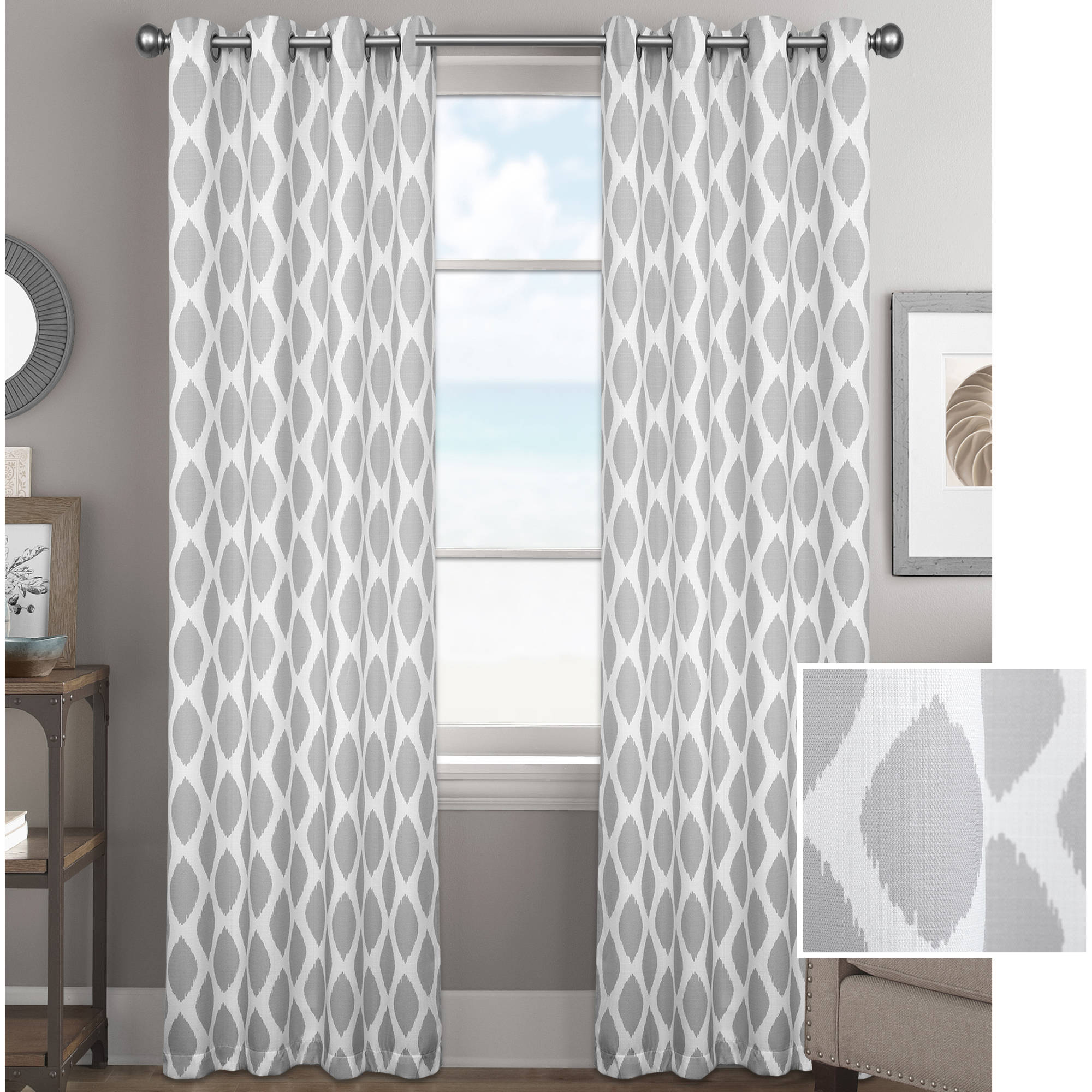 better homes and gardens ikat diamonds curtain panel with grommets better homes and gardens ikat diamonds curtain panel with grommets walmart com